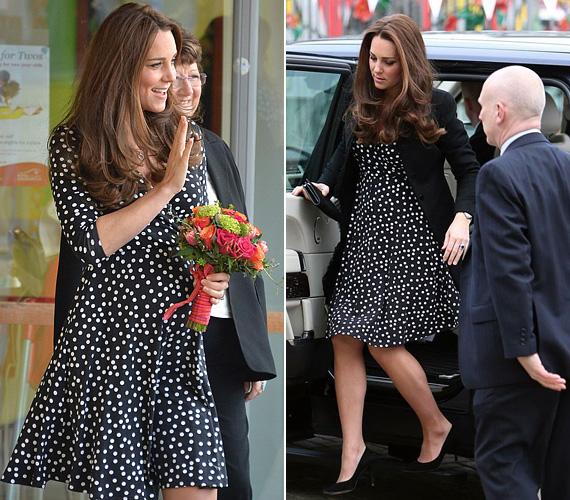 Katalin hercegnő több ízben viselt pöttyös ruhákat, ezt a lenge Asos ruhát akkor láthatták rajta az alattvalók, amikor márciusban egy gyermekközpontba látogatott.