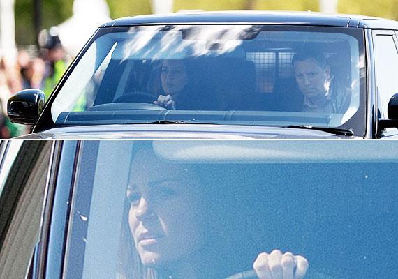 A mindenórás Katalin hercegnő nem hagyta, hogy más vezesse a hatalmas autót - bizonyára akkor érzi a kisfiát biztonságban a hátsó ülésen, ha nála van a kormány.