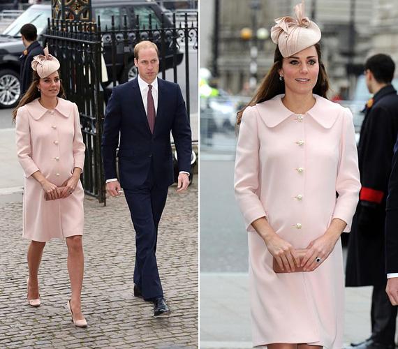 A nyolc hónapos terhes hercegnő elbűvölően festett pink Alexander McQueen kabátjában, amelyet hasonló színű cipővel és kalappal egészített ki. Nem először volt ez rajta ez az összeállítás, a következő képkockán láthatod, mikor viselte korábban.