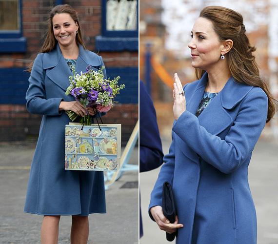 Februárban az Emma Bridgewater porcelángyárba látogatott el ebben a kék kabátban. Azok, akik igyekeznek a hercegnő ruházatából kitalálni, kisfiút vagy kislányt vár-e, bajban vannak, hiszen láthatóan szereti a kéket és a rózsaszínt is.