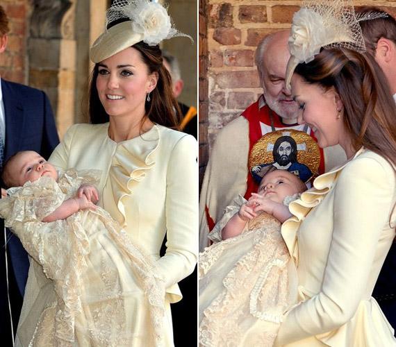 A keresztelőn az anya és a baba is tündökölt.