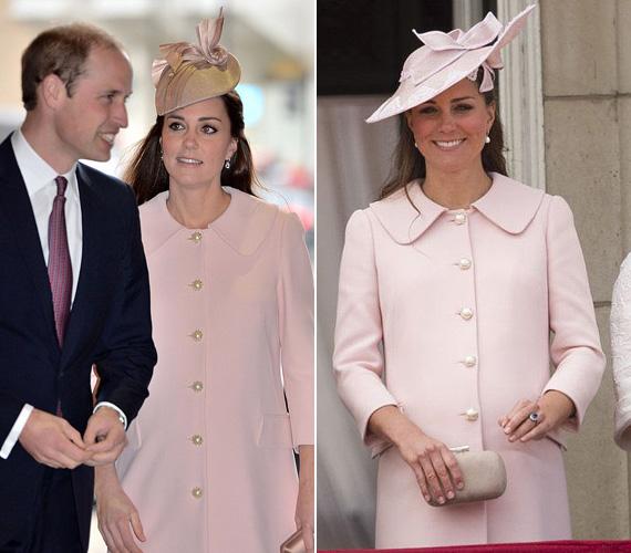 Katalin hercegnő pár hete, március 9-én, a nemzetközösségi napon jelent meg a púderrózsaszín, aranygombokkal díszített Alexander McQueen kabátban, ami szintén nem először volt rajta. 2013 júniusában, György herceggel való terhessége idején a Trooping the Colour rendezvényén ugyanezt a szettet viselte, csak más kalappal.