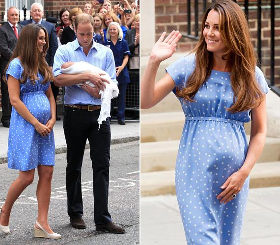A hercegnő 2013 júliusában egy babakék Jenny Packham-ruhában mutatta meg az újszülött György herceget a világnak.