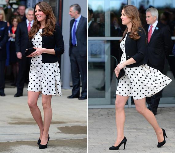 2013 áprilisában viselte ezt a fehér alapon fekete pöttyös ruhát a hercegnő, akkor is terhes volt, a kis György néhány hónappal később született meg.