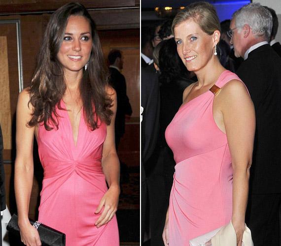 Katalin 2007-ben hordta ezt a rózsaszín ruhát, egy ehhez hasonlót Sophie pedig 2012-ben.