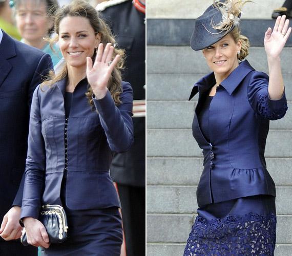 A tengerészkék kosztümöt Katalin hercegnő 2011-ben viselte, Sophie egy évvel később.