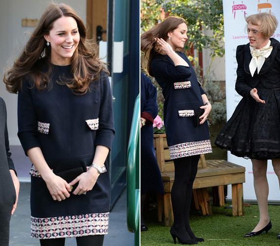 Január 15-én mutatkozott először 2015-ben Katalin hercegnő: egy művészeti iskolába látogatott el ebben a tengerészkék Madderson London ruhában.