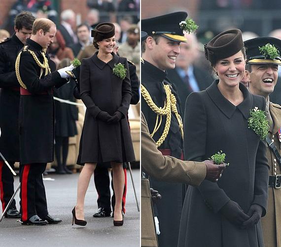 Bár már a terhessége nyolcadik hónapjában jár, Katalin hercegnő kipihentnek és mosolygósnak tűnt a március 17-i parádén. A hercegnőn egy barna Catherine Walker kabát volt, amelyre lóherecsokrot tűzött - ez hagyományosan Szent Patriknak, Írország védőszentjének a szimbóluma.