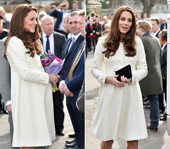 Március 12-én a Downton Abbey című sorozat forgatásán járt, amelynek személyesen is a rajongója. Akkor volt rajta ez a hófehér JoJo Maman Bebe kabát, amelyben lenyűgözte a stábtagokat és a színészeket egyaránt.