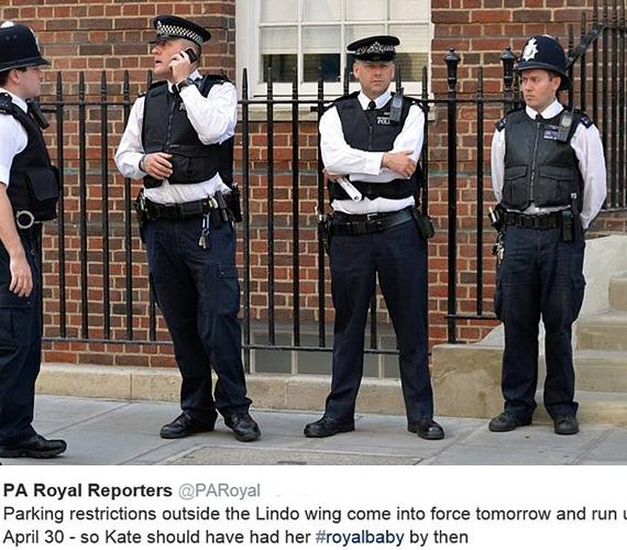 A The Press Association's Royal Reporters által közzétett fotó tanúsága szerint rendőrök is megjelentek a területen, hogy biztosítsák a helyszínt, és már most megakadályozzák az esetleges káoszt.
