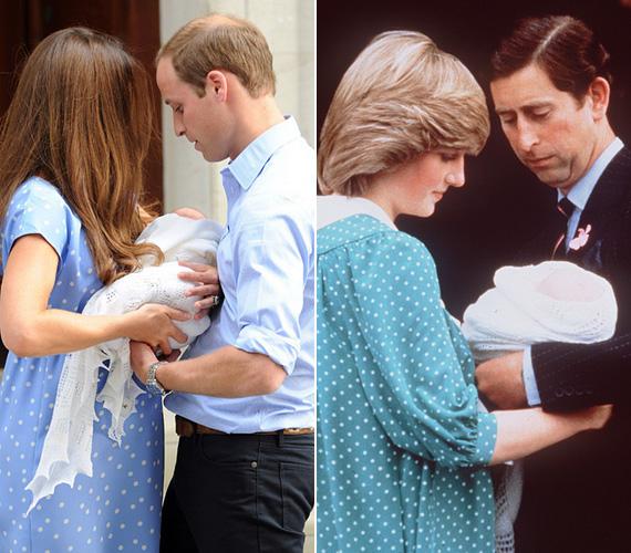 A kis György herceg 2013. július 22-én jött világra, Katalin hercegnő és Vilmos herceg másnap mutatta őt meg a nyilvánosságnak, fotójuk bejárta a világsajtót. Katalinon hasonló ruha volt, mint amilyet Diana hercegnő viselt Vilmos 1982-es születése után.