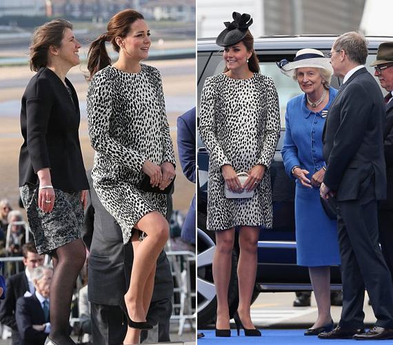 Az első fotó ma délelőtt készült, a második 2013 júniusában, amikor a hercegnő György herceggel volt várandós.
