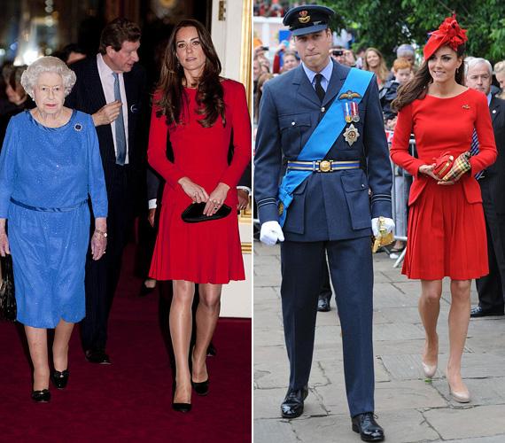 A feltűnő színű Alexander McQueen ruha először a királynő gyémántjubileumán volt Katalinon 2012 júniusában, majd két évvel később egy fogadáson is ezt viselte, utóbbi alkalommal bézs színű cipővel és piros kalappal párosítva.