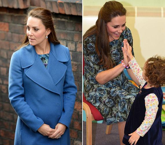 Idén februárban az Emma Bridgewater porcelángyárba látogatott ebben a kék kabátban, ami alá egy Seraphine ruhát húzott. Ugyanaz a ruhát januárban a smethwicki Cape Hill Gyerekközpontban is viselte.