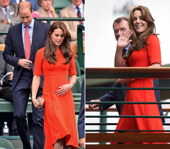 A július közepén megrendezett wimbledoni teniszbajnokságra Vilmos herceg és Katalin hercegnő is ellátogatott, hogy együtt szurkoljanak Andy Murray teniszezőnek. A hercegnő ekkor mutatkozott először kislánya, Charlotte hercegnő keresztelője után. Erre az alkalomra pedig egy lángvörös, elegáns ruhát választott.