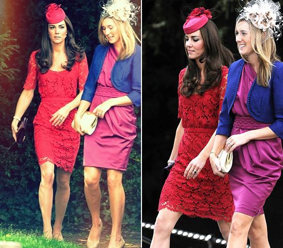 Katalin hercegnő 2011-ben, nem sokkal az eljegyzése után viselte ezt a piros csipkeruhát, amelyben egy kedves barátja esküvőjére érkezett. Ezután egész Anglia erre a koktélruhára vágyott.