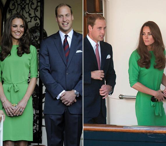 2011 júliusában viselte Katalin hercegnő a zöld Diane von Fürstenberg ruhát Los Angelesben. Néhány héttel később Zara Phillips jachtpartijára is ezt vette fel. Csak a kezében tartott clutch - illetve Vilmos herceg nyakkendőjének színe - árulja el, hogy nem ugyanazon az eseményen készült a két fotó.