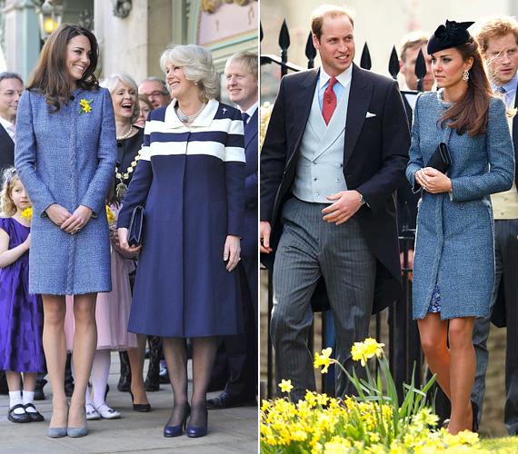 Az M Missoni tweedkabátot is több alkalommal viselte a hercegnő: először 2012 márciusában volt rajta, amikor II. Erzsébet teameghívásának eleget tett. 2014 márciusában pedig egy esküvőn fotózták le ugyanebben a kék kabátban.