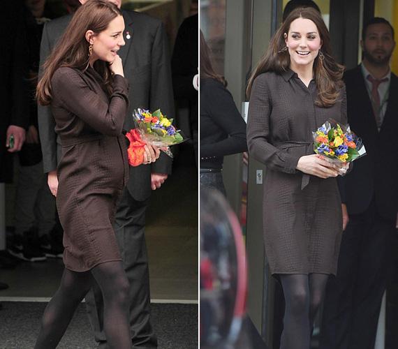 Januárban állami gondozott gyerekeket látogatott meg Észak-Londonban ebben a barna Hobbs ruhában.