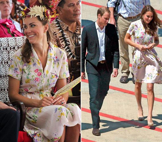 2012 szeptemberében, az ausztrál körutazás alkalmával viselte ezt a könnyű anyagból készült Project D virágos ruhát.