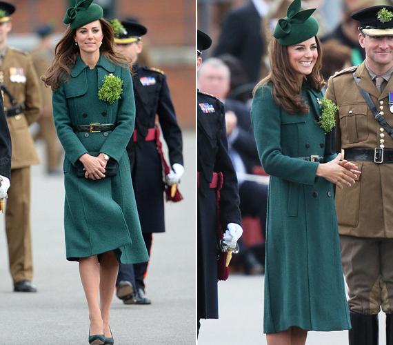 Katalin hercegnőnek a kalapja és a cipője is zöld volt.