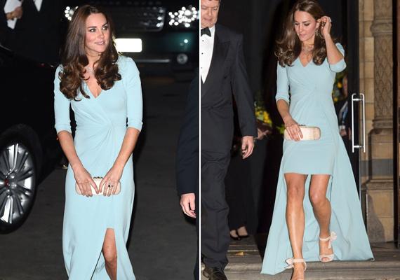 2014-ben viselte ezt a Jenny Packham által tervezett ruhát. Nem csoda, hogy mindenki a hercegné csodás lábairól beszélt.