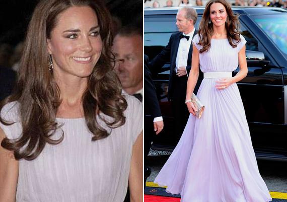 Alexander McQueen tervezte ezt a gyönyörű, pasztellszínű estélyit, amit a hercegné a BAFTA-díjátadón viselt 2011-ben.
