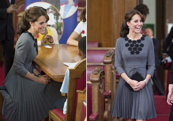 A hercegnét láthatóan nagyon szívesen fogadták, látszik, hogy igazi anyuka, rögtön a gyerekek mellett foglalt helyet.