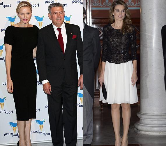 A monacói hercegnő, Charlene egy sportgálán jelent meg egyszerű fekete ruhájában, Letícia hercegnő pedig egy fehér-fekete összeállítást választott.