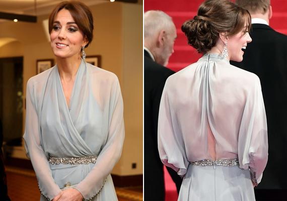 Katalin jól láthatóan nem viselt melltartót tegnap este, a hátul nyitott ruhája semmit sem rejtett el a kíváncsi szemek elől.