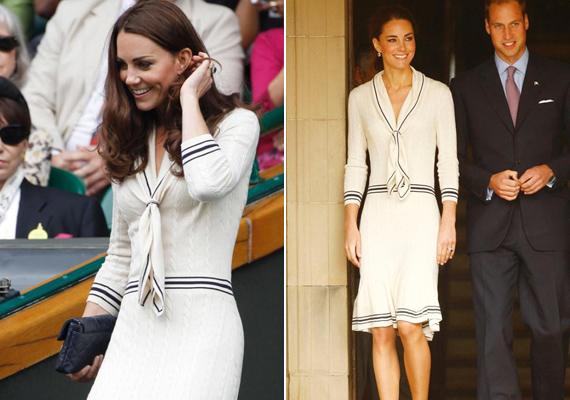 2011-ben viselte először ezt az Alexander McQueen ruhát, kanadai látogatásuk során, majd egy évvel később Wimbledonban, a teniszbajnokságon.