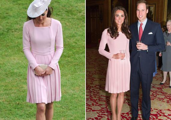 Ezt a pasztellrózsaszín Emilia Wickstead ruhát viselte 2012-ben, Erzsébet királynő uralkodásának 60. évfordulóján, majd 11 nappal később egy teadélutánon.