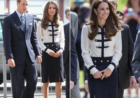 Katalin egyik kedvenc tervezője, Alexander McQueen tervezte ezt a katonai egyenruha stílusú együttest. 2011-ben viselte birminghami látogatása során, majd 2014-ben, amikor egy II. világháborús kódfeltörő állomást tekintettek meg.