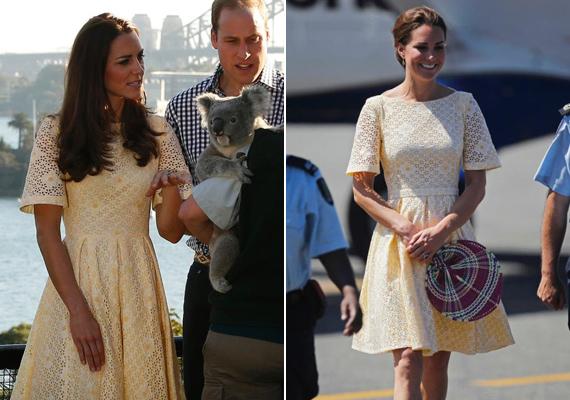 Ez a vajszínű, csipkés ruha is többször volt a hercegnén, 2012-ben a jubileumi turnén, később pedig 2014-ben, amikor az ausztrál Taronga állatkertbe látogattak el.