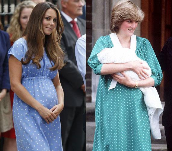 Ugyanúgy pöttyös ruhában lépett ki a kórházból, mint annak idején Diana hercegnő, miután 1982. június 21-én világra hozta Vilmos herceget. Katalin azzal is kivívta nőtársai elismerését, hogy nem kívánta elrejteni a szülés utáni pocakját.