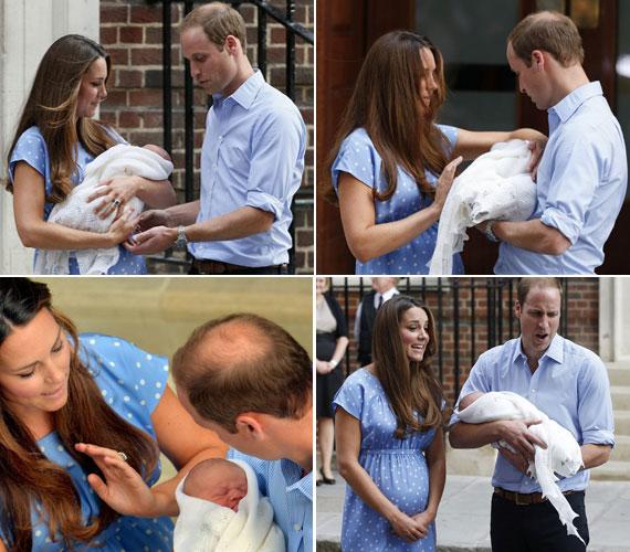 Miután számos fotó készült a háromfős hercegi családról a kórház bejáratánál, az édesanya átnyújtotta a babát az apukának - annak arckifejezése láttán kisfia éppen valami vicceset csinált a karjaiban.