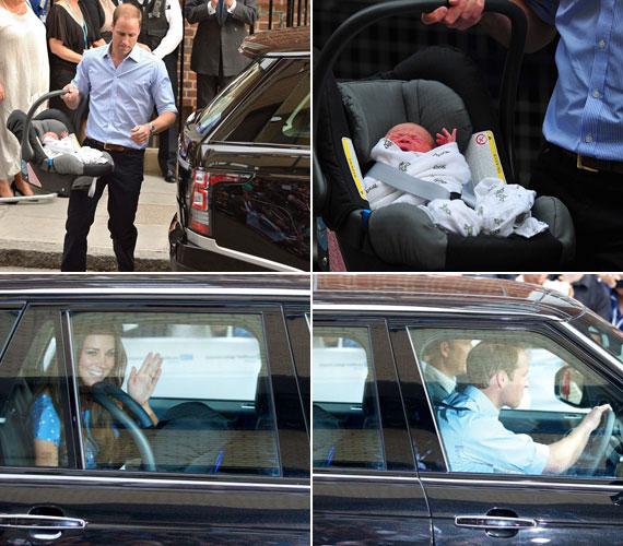 A kisfiút egy babahordozóban maga az édesapa rögzítette a Range Rover hátsó ülésen, majd a volánhoz is ő ült, és még mindig integetve elhajtottak a londoni rezidenciájukra, a Kensington-palotába.