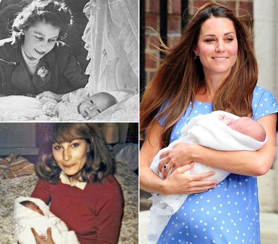 1948-ban Károly herceget és Erzsébet királynőt is lencsevégre kapták, ahogy Katalin hercegnőt is nagy szeretettel ölelte magához édesanyja.