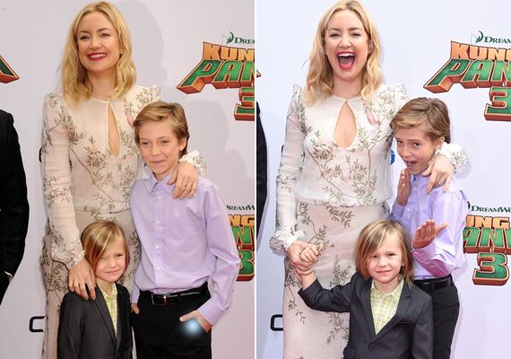 A képeket elnézve nem tudni, hogy ki szórakozott jobban, Kate Hudson fiai vagy a mókamester színésznő maga.