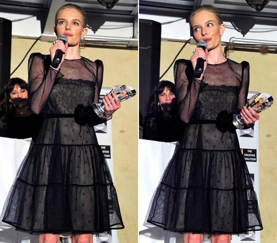 A 29 éves színésznő a Creative Coalition's Annual Spotlight Initiative Awards díjkiosztó gálavacsorájára egy felül átlátszó tüllruhát választott.