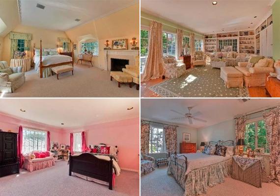 A romantikus, angol stílusú villában öt tágas hálószoba van.