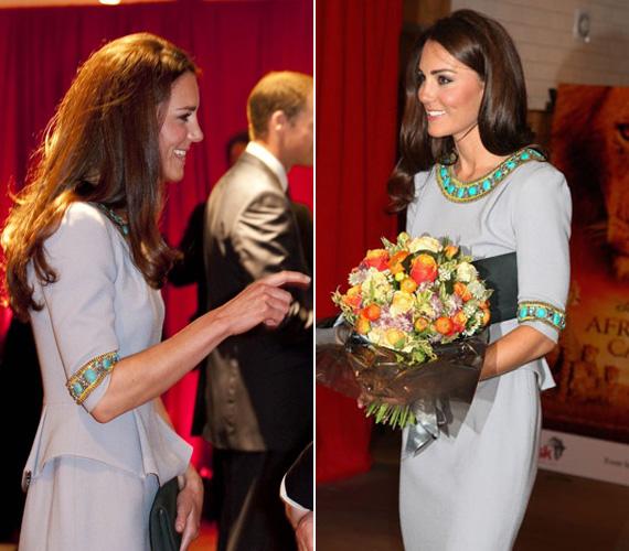 Kate halványszürke ruháját a türkizben és aranyban pompázó, etno stílusú kövek teszik különlegessé, amelyek a nyakrésznél és az ujjaknál futnak körbe.