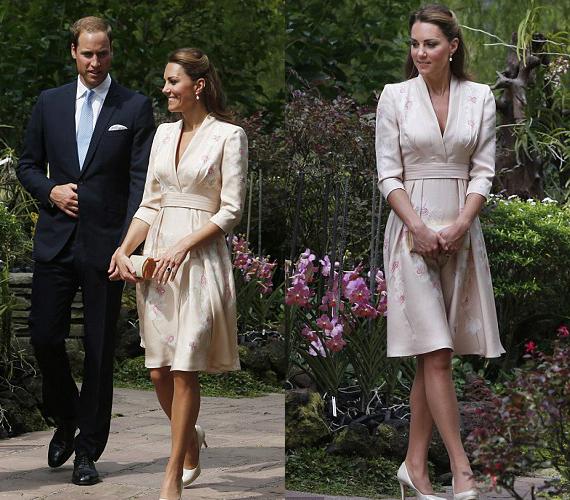 A kimonószerű ruhát egy brit tervező, Jenny Packham alkotta.