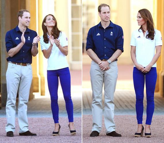 Férje, Vilmos herceg is sportos volt: felülre egy sötétkék inget, hozzá pedig egy világos, bézs színű a nadrágot húzott.