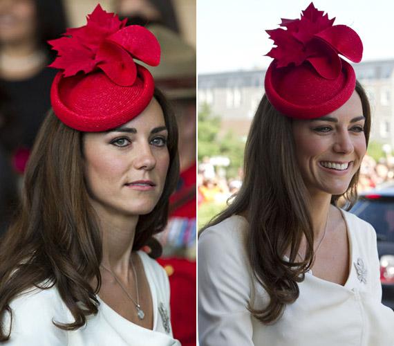 Ezt a csodaszép, virággal díszített, bordó fejfedőt szintén Kanadában viselte, egy múzeumi látogatás során.