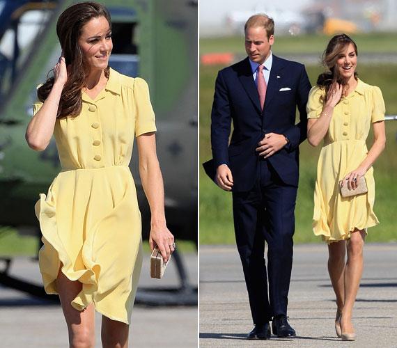 Calgaryban az erős szél majdnem felkapta Kate Middleton szoknyáját, ám végül nem történt baleset - napsárga ruhájában pedig csodálatosan festett.