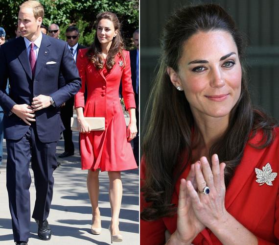 Calgaryben a hercegi pár az állatkertben is tett egy rövid látogatást, Kate itt egy csodás, piros Catherine Walker kosztümöt viselt.