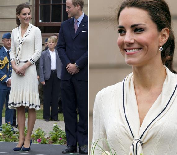 A Prince Edward-szigeten egy gyarmati stílusú épületben látták őket vendégül, ahová Kate kislányosan bájos, kötött ruhában érkezett.