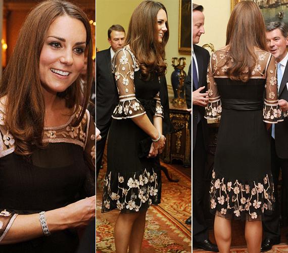 A hercegné egy fekete Alice Temperley ruhát választott az olimpiai és paralimpiai éremszerzők tiszteletére adott estélyre.