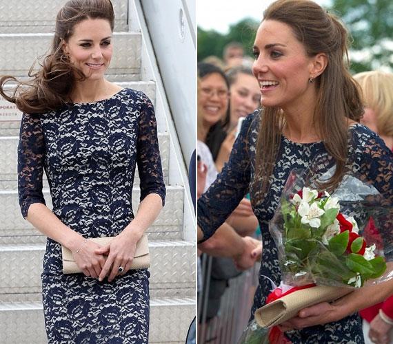 A hercegi pár a kanadai légierő gépével érkezett, a reptéren államfők és lelkes rajongók virágcsokorral várták Kate-et.